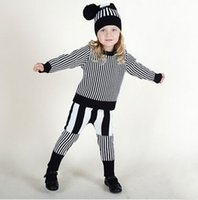 Wholesale 2016 New Thicken Striped European Girls Sweater Pants Sets Children Kids Suits Outfits Children Autumn Winter Clothing Sets