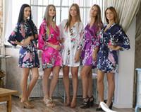 Wholesale New Design Peacock Printed Silk Kimono Robe Women Sexy Elegant Sleepwear Bathrobe Wedding Party Bridesmaid Robes S M L XL XXL XXXL