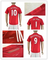 Wholesale 16 Top Quality Men s Soccer Suit Manchester Home Red Soccer Jersey ROONEY IBRAHIMOVIC SHAW DEGEA etc football shirt with shorts