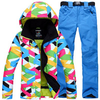 Wholesale women s waterproof windproof and warmth hooded ski jacket and solid pant ski and snowboard suit for women and men