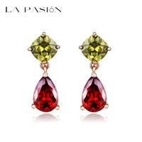 Wholesale LA PASION K Gold Plated Attractive My Mona Lisa Olive green and Red Color CZ Drop Earring