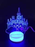 art christmas cards - 3D small desk lamp USB Bluetooth City of sky art Colorful DIY LED night light bedside lamp creative gifts married led table lamp