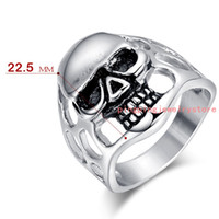 band casting - New Arrive Polished Bling L Stainless Steel Silver Skull Skeleton Punk Jewelry Men s Rings US Size High Quality Not Fades Casting