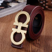 amber belt buckle - fashion belt Genuine leather bring body Goods in stock solid color joker Two layer Cowhide Word buckle buckle belt