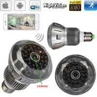 Wholesale Full HD P Wireless Spy Hidden Camera WiFi Bulb DVR H IR Night Vision P2P Home Security Monitor Spy Cam E27 Base Lamp Camcorder Motio