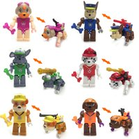 animal building - 6pcs in Spain Game Puppy Dog Minifigures Animal Action Figures Model Patrol Building Blocks Sets Toys SL8918 Paw Toy