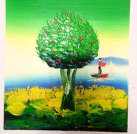 architectural cartoons - Pure hand painted oil painting life tree architectural landscape Product Specifications cm frameless