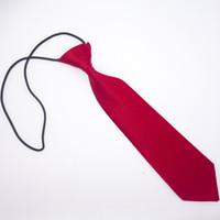al por mayor corbata corbata-La corbata de los niños 4 colorea el neckcloth sólido de la venda del caucho del neckline de los lazos 28 * 6.5cm del bebé para el regalo de la Navidad de los cabritos Fedex libre UPS TNT