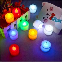 Wholesale LED wedding tealights electronic candle light party event flameless flickering battery candles plastic Home Décor colorful battery candles