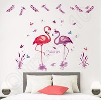 Wholesale Cartoon Flamingo Wall Stickers Wallpapers Cute Animal Wall Decals Removable Novelty Wallpaper For Kids Children Room Decoration QQA213