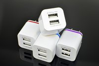 Wholesale New Arrival USB Chargers Metal Dual l V A Wall Chargers Double USB for iPad Samsung Android Phone US EU Plug