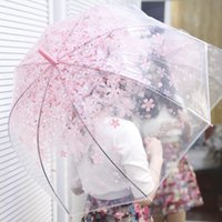 Wholesale Only beautiful cherry blossoms transparent umbrella Sweet and pure and fresh goddess necessary umbrella Bridal Parasols