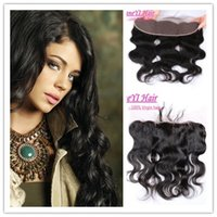 Wholesale 7A Raw Indian Full Ear To Ear Lace Frontal Closure x4 Baby Hair peruvian malaysian mongolian Brazilian Human Hair Body Wave Lace Frontals