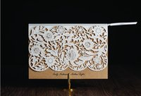 Wholesale Laser Cut White Lace flower Brown Color Wedding Invitation Card with Envelope Seal and Inner Sheet