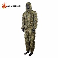 Wholesale Military Wargame D Leaf Camouflage Hunting Camo Disguise Sniper Ghillie Suit Uniform Woodland XXL D Breathable Set Clothes