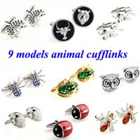 bee spider - Fashion Hedgehog Wolf Sheep Elephant Spider Frog Owl Bird Bee Beatles Cufflink Cuff Link Pair Biggest Promotion