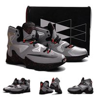 Wholesale High Quality Hot Sale Lebron XIII Hot Lava Laden Metallic Silver Men Basketball Sport Sneakers Shoes