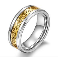 Wholesale Titanium steel jewelry stainless steel ring rings silver inlay dragon piece selling foreign trade in Europe and America may be set