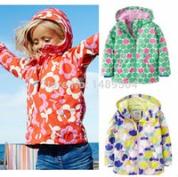 Wholesale Girls Jackets with hooded Flower Trench Outerwear for girl Kids coat Children clothing Kd Y Raincoat Spring waterproof Brand