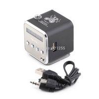 aluminum speaker wire - New black Aluminum alloy Portable Micro TF USB Mini Stereo Speaker Music Player FM Radio PC MP3 Hot