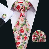Rosa de la moda corbata para hombre Establece florales clásicos de algodón corbata Establece el lazo para hombre Hankerchief Gemelos Establece formal de la boda del partido de Negocios N-1330