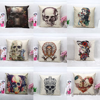 Cheap 45*45cm New Skull Printing Linen Cushion Cover Pillow Case Halloween Home Room Office Sofa Bed Decorative