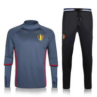 Wholesale 2016 Belgium Grey Football Tracksuits New Arrived Polyster Qty Active soccer Tracksuits Men s Long Sleeve Tracksuits Training Uniforms