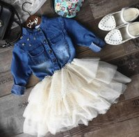 ball dress patterns - 2016 Fall kids clothes girls Autumn girls DRESS Denim Dresses Fashion Polka Dot Pattern Asymmetrical lace dress Kids Long Sleeve Cloting