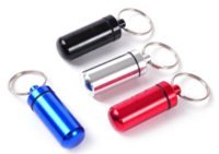 Wholesale 5 Pieces Keychain Pill Box WaterProof Aluminum medical Case Bottle Holder Container Pill Cases Splitters