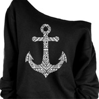 anchors for boats - Boat Anchor T Shirt Long Sleeve Inclined Shoulder Fleece US EU Style T Shirt Womans Clothing for Spring Autumn TM1007