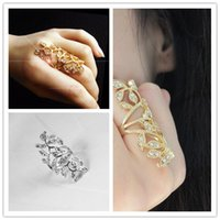 beautiful ring tones - Personalized Beautiful Fashion Silver Gold Tone Leaf Rhinestone Joint Armor Knuckle Crystal Ring Women Jewelry Free Ship