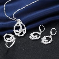 Wholesale Top fashion silver jewelry inlaid zircon pendant necklace bamboo plant models earrings and bracelets bridal jewelry sets S839