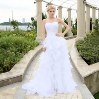 Wholesale 2016 Wedding Dresses Ivory White Robe de Mariee Organza Beaded Ruffled Plus Size Cheap Bridal Gown
