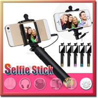 Wholesale Luxury Universal Wired MINI Selfie Stick Monopod with Mirrior For Iphone Samsung Android IOS Camera