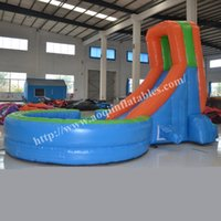 backyard water gardens - Customized inflatable product garden inflatable slide cheap price inflatable water slide with big pool for summer