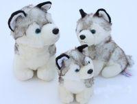 achat en gros de petite peluche animaux jouets gros-Grossiste-super mignon peluche animal jouet petit chien gris husky jouet en peluche cadeau d'anniversaire 18cm 10pcs gratuit shiping n0908
