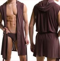 bathrobe men cotton - NEW Ice Cotton Men Bathrobe Summer Hooded Sleepwear Robes Leisure Home Sleeveless nightGown Pajama Underwear gay dressing gown