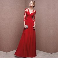 Wholesale Long Elegant Women Evening Dresses With Long Sleeves V Neckline Lace Appliques Red Special Occasion Formal Party Dress Gowns
