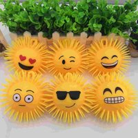 Wholesale LED light ball children light toys inch long haired printed with a smiling face and fluffy TPR ball A0506012
