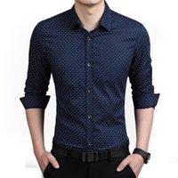 Wholesale 2016 Fashion Brand Clothing Plus Size Mens Shirt Slim Fit Long Sleeve Polka Dot Shirts Luxury Handsome Cotton Social Camisa XL