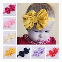 accessories satin turban - 2016 Kids Headband Baby Girls Satin Flower Big Bow Hairband Elastic Headbands Stretch Turban Knot Head Wrap Floral Hair Band Accessories