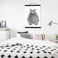 bear posters - Modern Minimalist Black White Kawaii Bear A4 A3 Large Poster Prints Original Animal Canvas Painting Home Kid Room Wall Art Gifts