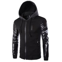 Wholesale Mens Hoodies Patchwork Leather Sleeve Fashion Hoodies Men Jacket Coat Brand Sweatshirt Slim Suit Pullover Tracksuits Masculino