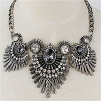 Wholesale New Design Indian feathers Vintage Punk Crystal Necklace amp Pendant Metal Fashion Jewelry For Women XL