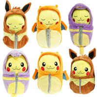 Wholesale 1pc cm Poke Go plush Pikachu Cosplay Charizard Eevee Robe Sleeping Bag Ekans Plush toys cartoon Fashion Toys Plush dolls