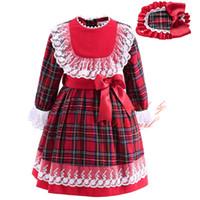 al por mayor cordón del vestido de cuadros rojos-Pettigirl 2016 más nuevo vestido de encaje de otoño de las niñas del boutique de la tela escocesa con el arco Hairbands comprobó la ropa roja de los niños del desgaste de manga larga G-DMGD908-892