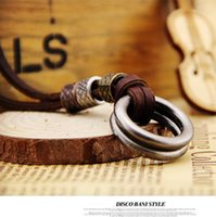 artistic rings - Vintage retro design Handmade leather belt double rings necklace pendant Creative artistic accessory Gifts Fashion accessories