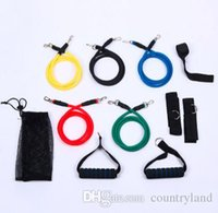 Wholesale Fitness Resistance Bands Exercise Tubes Practical Elastic Training Rope Yoga Pull Rope Pilates Workout Cordages a set