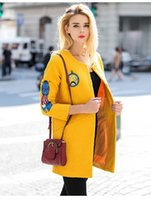 american apparel wool coat - Long Jacket Women American Apparel Vintage Fashion Cartoon Embroidery Long Sleeve Coat Wool Blends manteau femme