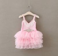 Grossiste Enfants Fille Spaghetti Strap V Dentelle strass Sash Layered Plissé TuTu Tulle robe princesse Robe de soirée de la fille